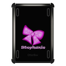 Monogrammed OtterBox Defender for ipad Mini / Air Pink Black Bow Ribbon Name