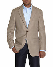 Greg Norman For Tasso Elba Khaki Tan Windowpane Two Button Blazer Sportcoat