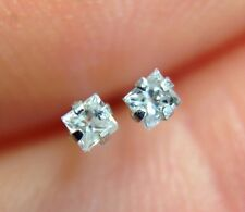 .06CT Natural Princess Cut Diamond 14K White Gold Earring Studs | Baby or Adult