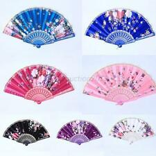 Chinese Style Folding Hand Fan Beauty Floral Fabric+Plastic Dance Pocket Fan
