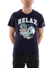 New Era T - Shirt Tee Top Basic Ne Relax Ree blau Logo Print