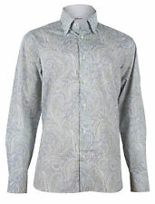 Brioni Men's Gray Floral Cotton Dress Shirt Long Sleeve, sizes III, V, VI
