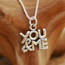"""925 Sterling Silver """"You & Me"""" Pendant Necklace Handcraft Hallmark With Gift Box"""