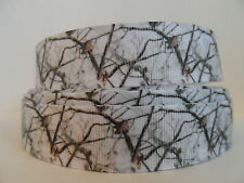 "Grosgrain Ribbon, White Camo in Snow, Twigs Trees Limbs Snow Camo 7/8"" Wide"