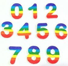 Iron On Embroidered Number Patch Diy Rainbow Applique 0-9 Sew Motif Sports Lot