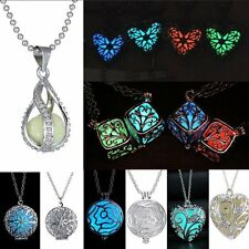 Womens Luminous Magic Fairy Steampunk Locket Glow In The Dark Pendant Necklace