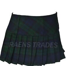 "Ladies 12"" Micro Mini Hipster Full Pleated Tartan Skirts Short Kilt"