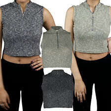 Womens Ladies Front Zip Ribbed Knitted Turtle Polo Neck Crop Top Sleeveless