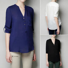 Collarless V Neck Long Sleeve Women's Asymmetric Shirt Blouse Tops Pocket Solid