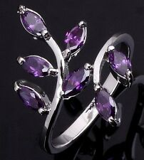 Jewelry Womens Size 6,7,8,9,10 Amethyst 18K Gold Filled Delicate Wedding Rings
