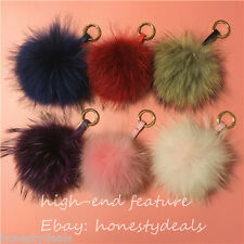 "13cm/ 5"" Large Genuine real Raccoon Fur Pom Pom Ball bag charm keychain ring"