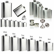 2 6 7 8 10 18 oz Stainless Steel Hip Flask Liquor Whiskey Alcohol Bottle Funnel
