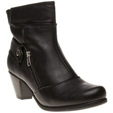 New Womens Lotus Black Viper Synthetic Boots Ankle Zip