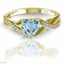 18k Yellow Gold Plated Simulated Heart Cut Aquamarine Diamond 925 Infinity Ring