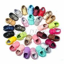 Newborn Baby Infant Tassel Leather Shoes Boys Girls Toddler Soft Sole Moccasins