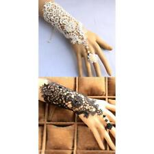 Elegant Bridal Lace Wrist Cuffs Fingerless Wedding Glove Bracelet Ring