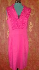 Ted Baker London Hot Pink Ruffle Collar and Bodice Sheath Dress. Size 4