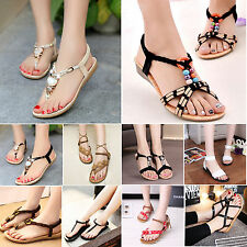 Womens Beach Sandals Ankle T-Strap Thong Slipper Ladies Flip Flop Flats Shoes