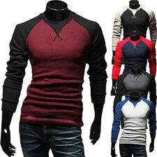 Men's Casual Slim Fit T-shirt Crew-neck Long Sleeve Patchwork High-End Tee Tops