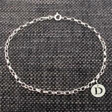 925 Solid Sterling Silver Belcher Ankle Bracelet Anklet With Any Initial Charm