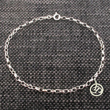 925 Solid Sterling Silver Belcher Ankle Bracelet Anklet With Ohm Aum Om Charm