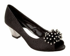 WOMENS BLACK GLITTER WEDDING BRIDAL EVENING PARTY COURT SHOES LADIES UK SIZE 3-8