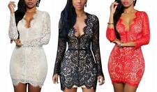 Sexy Women Ladies Lace Dress Backless Cocktail Party Evening Mini Dress