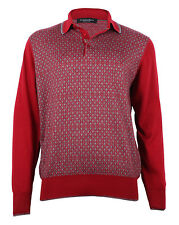 Stefano Ricci Men's Red/Gray Cashmere & Silk Knitted Polo Sweater, size 50 (M)