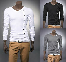 New Mens Fashion button Casual Slim fit V-neck T shirt tops Tee 3 colors #EY