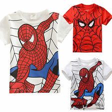 Boys Kids Spider-Man Printed Short Sleeve T-Shirts Tops Casual Tee Blouse 2-7Y