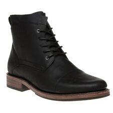 New Mens SOLE Black Haton Leather Boots Lace Up
