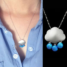 October Birthstone blue fire opal ball necklace sterling silver cloud pendant