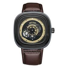 Men's Self Wind Watches Hollow Dial Skeleton Leather Strap Mechanical Watch E5D2