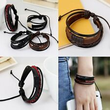 Retro Multilayer Leather Wristband Friendship Bracelet Cuff Bangle Men Women