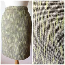Vintage 1950s Wiggle Skirt / Lime Black White / Wool Weave / XS / Pencil