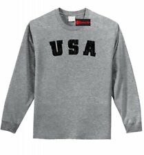 Distressed USA Mens Long Sleeve T Shirt American Pride Patriotic Gift Tee Z1