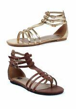 Gladiator Flat Sandal Women's Size Shoe With Triple Ankle Strap And Closed Heel