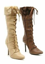 Ellie Shoes 4'' Heel Knee High Boot Women's Size Shoe With Stiletto Heel And Fur