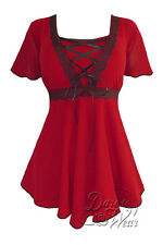 Gothic ANGEL Stretch Corset Style Top SCARLET RED / BLACK Sizes 10/12 - 26/28
