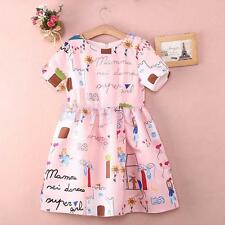 Fashionable Girls Kids Pageant Wedding Party Birthday Pink Princess Dress Lovely