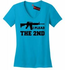 I Plead The 2nd Ladies V-Neck T Shirt Gun Rights Second Amendment AR15 Tee Z5
