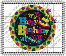 Happy Birthday Party Hat ~ Frosting Sheet Cake Topper ~ Edible Image ~ D355