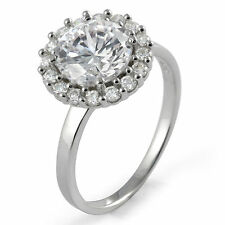 Round Solitaire Engagement Cubic Zirconia Wedding Ring Sterling 925 Silver