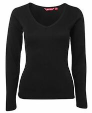 Ladies V-Neck Rib Knit Fabric Tee Women Long Sleeves Black Fit Shirt Size 8-18