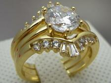 Lab diamond 18ct 18K Yellow Gold GF Wedding Engagement 3 RING SET Size 6,7,8 & 9