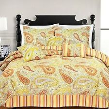 NEW Twin Full Queen King Bed 7pc Blue Yellow Orange Paisley Stripe Comforter Set