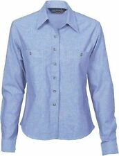 Ladies Cotton Chambray Shirt - Long Sleeve Brand New Clothes Work 4106 dnc