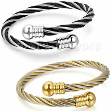 Two-tone Elastic Adjustable Steel Twisted Cable Cuff Bangle Bracelet Men Women