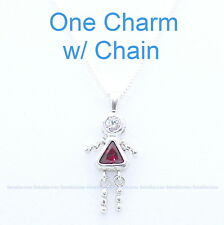 """ONE Sterling Silver Birthstone Charm w/18"""" Chain Baby BOY GIRL Mother Day Child"""