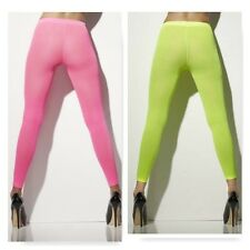 Opaque footless tights 80s 1980s costume fluro stockings 42792 neon pink green